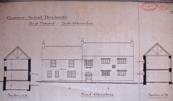 Crickmay's drawing of the Free School (west front)  before its partial demolition in 1880