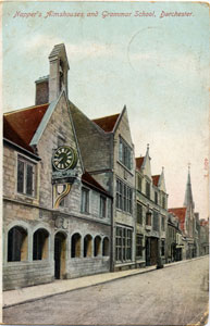 Postcard showing Crickmay's rebuilt Grammar School front after 1883